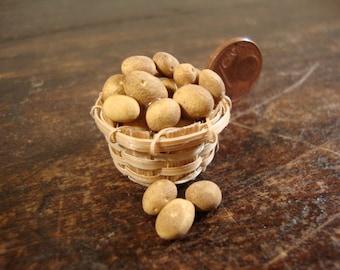 dollhouse miniature basket with potatoes