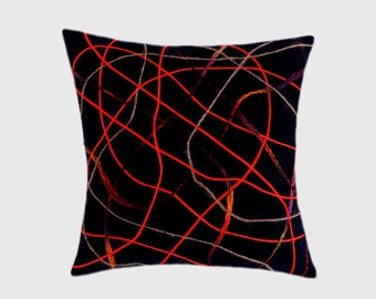 """Decorative Pillow Case, Navy Blue Wool Throw pillow case with Red, Beige yarn Abstract accent, fits 18""""x18"""" insert, Toss pillow case."""