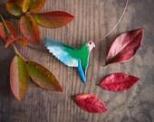 Parrot statement necklace, rosy faced lovebird bib necklace, enamelled nature inspired modern bird necklace, gift for her, elegant bird