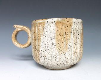 Beige Coffee Mug, White Stoneware Carved Coffee Mug with Striped design, Tan Coffee Mug, Grainy Salt and Pepper Handmade Pottery Mug
