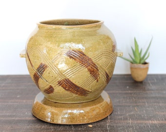 Korean Onggi Jar, Handmade Pottery Jar with Lid, Korean Hangari, Stoneware Ceramic Lidded Jar,