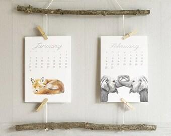 2017 Calendar - Animal Calendar - Desk Calendar - 5x7 - 8x10 - Nursery Arts - Gift for Kid, Coworkers - New Year Gift