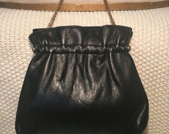 Black Leather Evening Bag