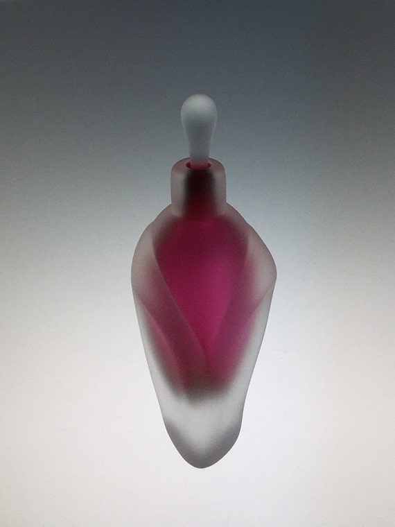 Hand Blown Glass Perfume Bottle - Sandblasted Ruby Red Overlay  by Jonathan Winfisky