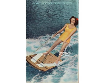 Digital Download Old Florida Vintage Postcard Cypress Gardens Botanical Water Ski Winter Haven Woman Water Skier