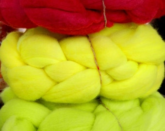 Uruguayan extrafine 19 mic  Merino hand dyed wool top roving 3 luminescent colors  x 3 oz (100gr)