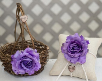 Purple Rose Twig round personalized wedding small rustic flower girl basket and ring bearer pillow. Customize with flower and initials