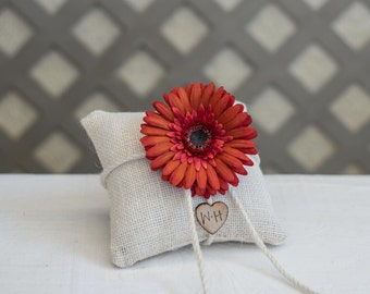 Personalized burlap ring bearer pillow you pick the daisy flower with bride and groom initials stamped on wood heart