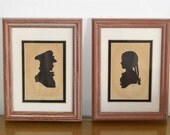 PAIR of Antique Framed Silhouettes BOY & GIRL by Sidney Z. Lucas