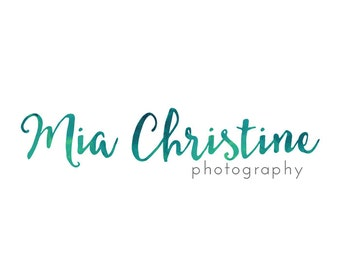 Watercolor Calligraphy Logo and Watermark - Teal Photography Logo Design