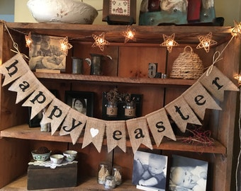 Easter Bunting, Happy Easter Bunting, Burlap Easter Bunting, Burlap Easter Banner, Easter Garland, Easter Decoration, Easter Garland