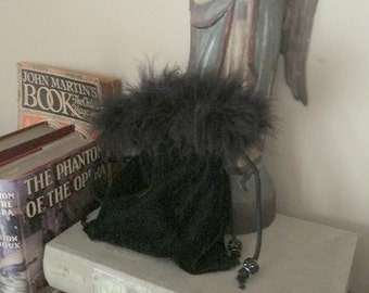 Velvet Hand Bag, Draw String, Feathers, Beads