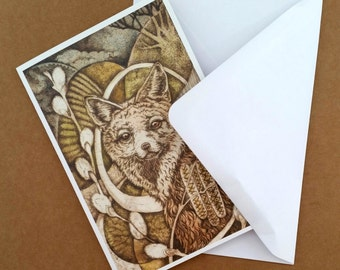 RED FOX greetings cards