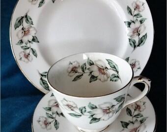 English Teacup Saucer Plate Gardenia
