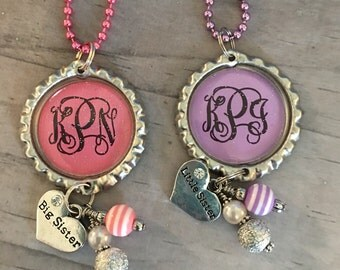 Sister Necklace / Big Sister / Little Sister /Personalized Necklace / New Baby Sister / Monogrammed Jewelry / Sister Jewelry / Heart Necklac