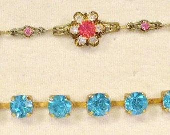 2 Amazing Vintage Rhinestone Bracelets