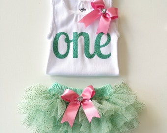First Birthday Outfit Baby Girls Number One Tank Top and Mint Tutu Glitter Bloomers