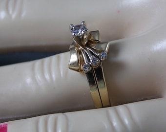 Diamond Bridal Set .20Ctw Yellow Gold 14K Magic Glo 4.4gm Size 6 Swirl Design Vintage
