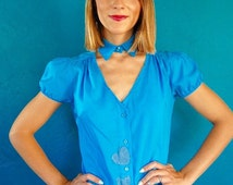 Vintage 1980s Cobalt Blue Blouse.  Button Up - Puff Sleeve Blouse - Detached Collar - Silk Top - Size Small
