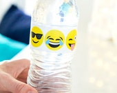 Emoji Party Water Bottle Wraps - Printable PDF Party Decor