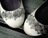 Downton Abbey Bridal Ballet Flat Wedding Shoes - All Full Sizes - Pick your own shoe color and crystal color