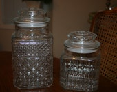 Vintage Anchor Hocking Two Glass Jar Canister Clear Color Large and Medium