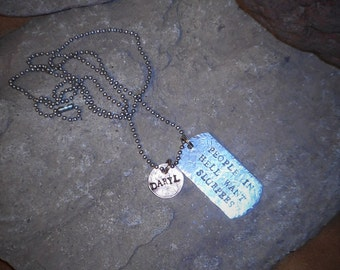 """The Walking Dead DARYL Dixon Quote """"People in Hell want Slurpees"""" Hand Stamped Dog Tag Penny Necklace"""