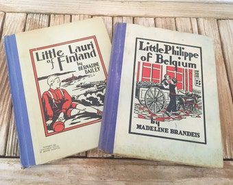Pair of Vintage Book Titled Little Lauri of Finland and Little Philippe of Belgium