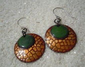 Green and Golden Brown Earrings