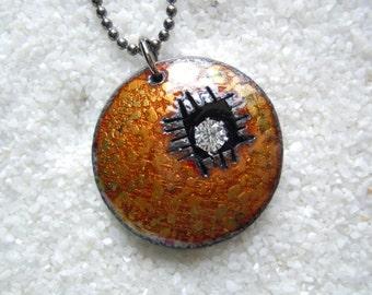 Golden Brown Enamel Necklace Artisan Jewelry