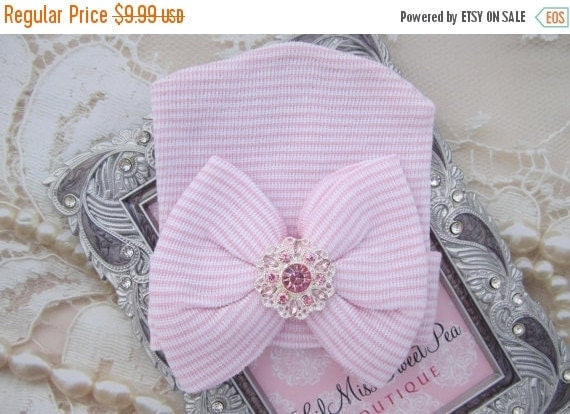 20% OFF SALE Newborn Hospital Hat, pink and white stripes with a pink and silver rhinestone attachment, baby hat, from Lil Miss Sweet Pea Bo