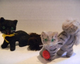 Vintage Kunstlerschutz Germany flocked and furred cat figurines..one black, one tabby