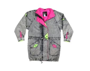 Bodacious 80s Neon Accented American Beauties X-Long Denim Coat - S