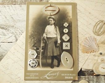 Antique Up Cycled Paris France Photograph with Mother of Pearl Buttons / Cabinet Photo / Victorian Edwardian French Girl Photograph