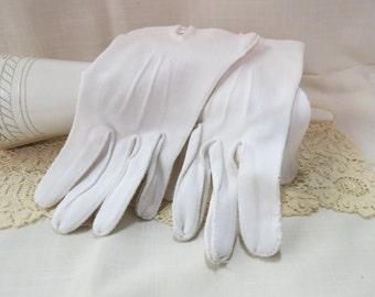 Vintage White Dress Gloves Cotton Ribbed Stitching