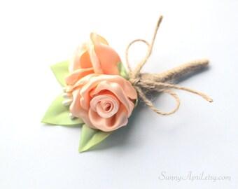 Peach Roses Boutonniere/ Wedding Lapel Pin/ Handmade Rustic Wedding Accessory