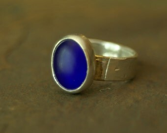 bimetal cobalt recycled glass relic ring US size 5.5