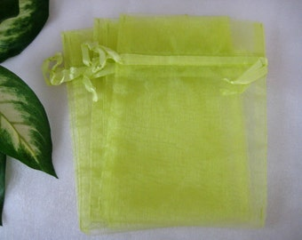 "5"" x 7""  Mind Green Organza Bags for Party Favors, Baby Shower Favors, Gift Bags, Saches, Wedding Favor, Jewelry, 12 cm x 18 cm, 10 pcs"