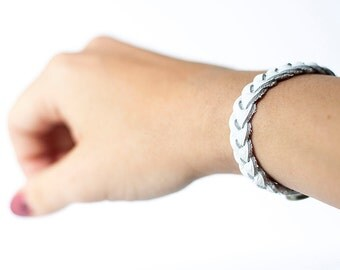 Braided Leather Bracelet / White