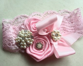Baby Girl  rhinestone  satin bow and rosette lace headband, Baby Headbands.Girl Headbands.