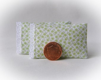 Miniature Pillows, Set of 2 Bed Pillows with tiny green flowers, lace trim detail - 1:12 scale