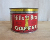 RESERVED FOR JUDY Vintage Metal Hills Bros Red Coffee Tin, Vintage Industrial Home Decor Kitchen Canisters, Unique Housewarming Gifts