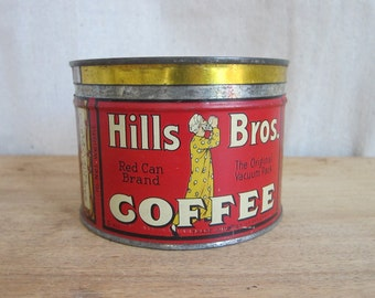 Vintage Metal Hills Bros Red Coffee Tin ~ Vintage Industrial Home Decor Kitchen Canisters, Unique Housewarming Gifts, Original Storage Ideas