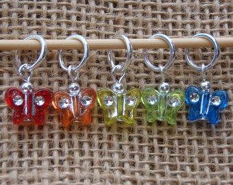 Rainbow butterfly stitch markers, set of five