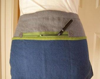 Twelfth Man Linen Cafe Apron, Blue Grey and Bright Green Half Apron, Zipper Pocket Utility