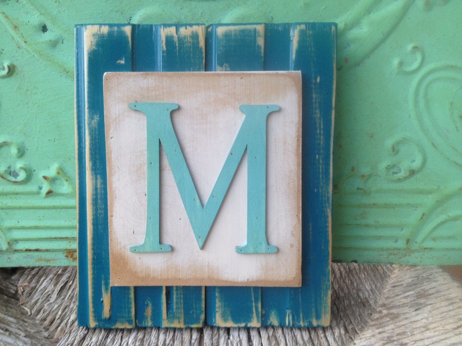 Shabby Chic Letter M Hanger Turquoise and Aqua Wooden Letter
