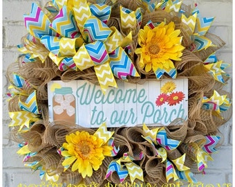 Spring/Summer Welcome to My Porch Wreath, Spring Wreath, Summer Wreath, Daisy Wreath