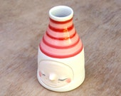 Happy red and blush pink striped bud vase
