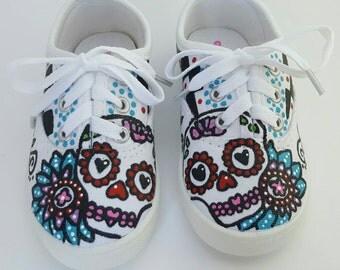 Day of the dead sugar skull shoes girls shoes Dia de los Muertos