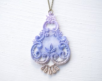 Lace Statement Necklace in Lavender and Tan Ombre